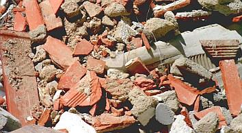 escombro de demolición de edificio