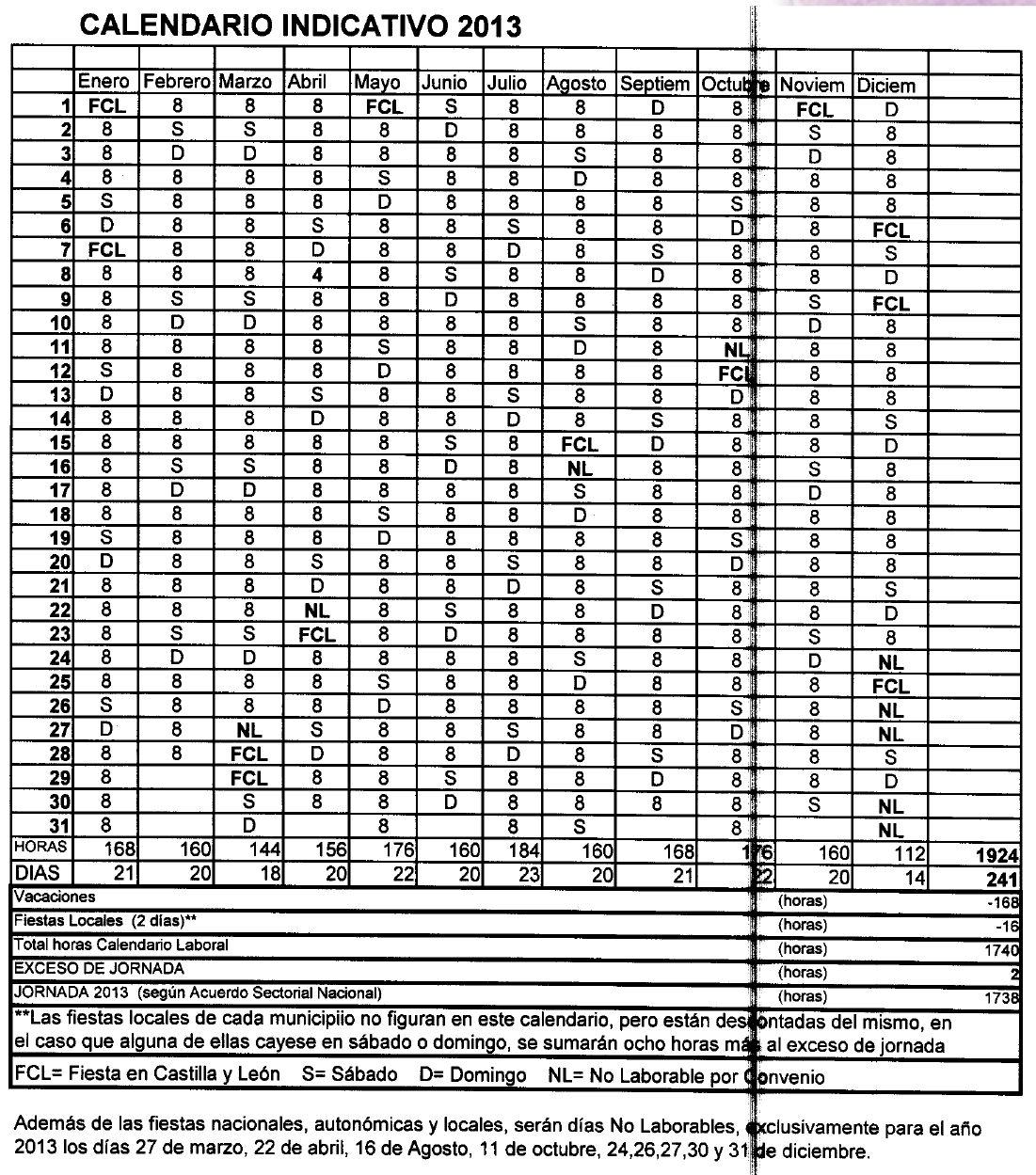 Calendario Laboral De La Construccion.Calendario Laboral Construccion 2013 Salamanca J L Tecnicos