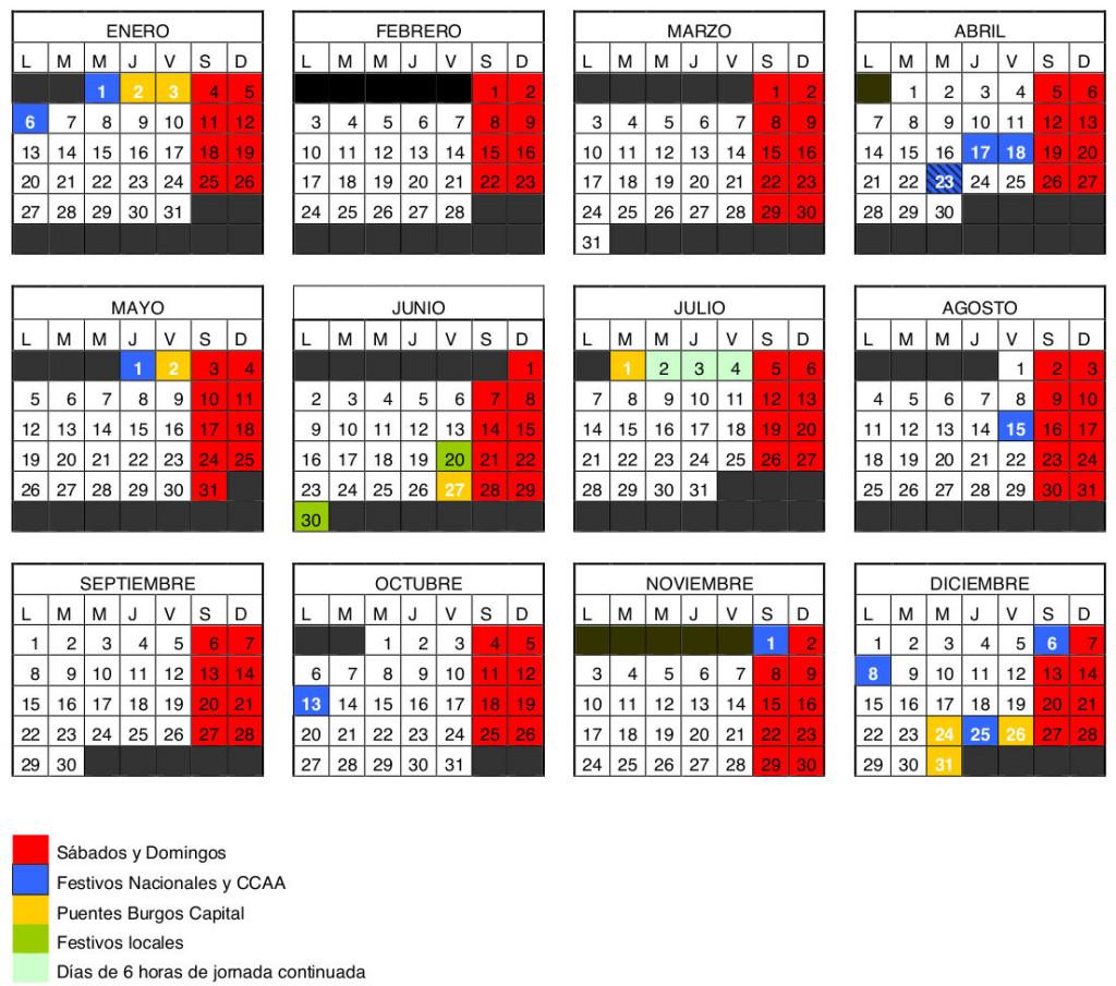 Calendario laboral de la construcción Burgos 2014 - J&L Técnicos