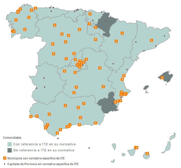 Mapa del estado de ITE e IEE en España