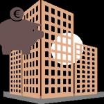 hucha de ahorro y edificio